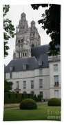 Palais In Tours With Cathedral Steeple Beach Towel