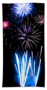 Pale Blue And Red Fireworks Beach Towel