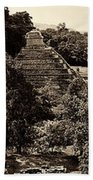 Palenque From The Jungle Panorama Sepia Beach Towel