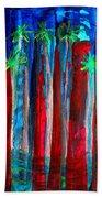 Palm Springs Nocturne Original Painting Beach Towel
