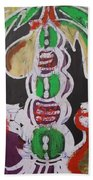 Pen And Drawing Batik Palm Tree With Keg Of Palm Wine. Beach Towel