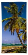 Palm Trees On The Beach Beach Towel