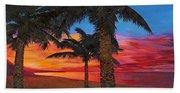Palme Al Tramonto Beach Towel