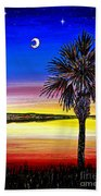 Palmetto Sunset Moon And Stars Beach Towel