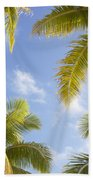 Palms And Sky Beach Towel