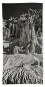 Panaca Sandstone Formations In Black And White Nevada Landscape Beach Towel