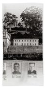 Panorama Alcatraz Infamous Inmates Black And White Beach Towel
