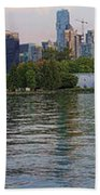 Panorama Of Coal Harbour And Vancouver Skyline At Dusk Beach Towel