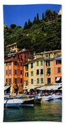 Panorama Of Portofino Harbour Italian Riviera Beach Towel