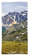 Panorama Of Rocky Mountains In Jasper National Park Beach Towel