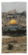 Panorama Of The Temple Mount Including Al-aqsa Mosque And Dome Beach Towel