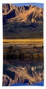 Panorama Reflections Sawtooth Mountains Nra Idaho Beach Towel