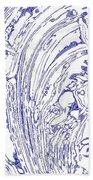 Panoramic Grunge Etching Royal Blue Color Beach Towel