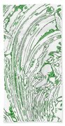 Panoramic Grunge Etching Sage Color Beach Towel