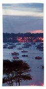 Panoramic Of The Marblehead Illumination Beach Towel by Jeff Folger