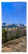 Panoramic Sawtooth Range And Little Redfish Lake Beach Towel by Robert Bales
