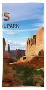 Panoramic View Of Arches National Park  Beach Towel