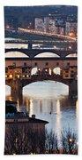 Panoramic View Of Ponte Vecchio - Florence - Tuscany Beach Towel