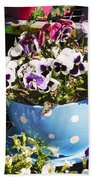 Cup Of Pansies Beach Towel