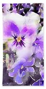 Pansies Watercolor Beach Towel