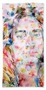 Paramahansa Yogananda Watercolor Portrait Beach Sheet