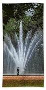Parc De Bruxelles Fountain Beach Towel