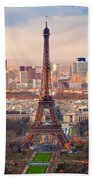 Paris At Sunset Beach Towel