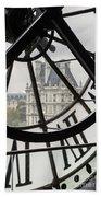 Paris Clock Beach Towel