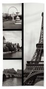 Paris Collage - Black And White Beach Towel