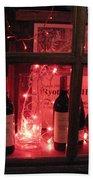 Paris Holiday Christmas Wine Window Display - Paris Red Holiday Wine Bottles Window Display  Beach Towel