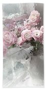 Paris Pink Impressionistic French Roses And Ranunculus - Shabby Chic Romantic Pink Flowers Beach Towel