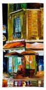 Paris-recruitement Cafe - Palette Knife Oil Painting On Canvas By Leonid Afremov Beach Towel