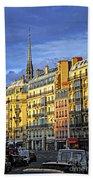 Paris Street At Sunset Beach Towel by Elena Elisseeva