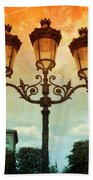 Paris Street Lamps With Textures And Colors Beach Towel