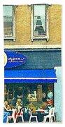 Paris Style French Bistro Art Sidewalk Cafe Terrace  Antique Shop C Spandau Montreal City Paintings Beach Towel