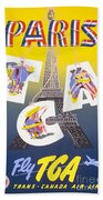Paris Vintage Travel Poster Beach Sheet