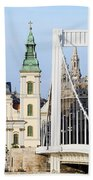 Parish Church And Elizabeth Bridge In Budapest Beach Towel