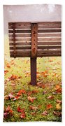 Park Bench In Autumn Beach Towel by Edward Fielding