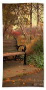 Park Bench In Autumn Beach Towel