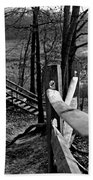 Park Trail Bw Beach Towel