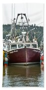 Parked Fishing Boats Beach Towel