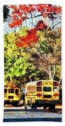 Parked School Buses Beach Towel