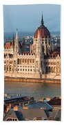 Parliament Building In Budapest At Sunset Beach Towel