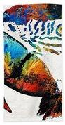 Parrot Head Art By Sharon Cummings Beach Towel
