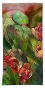 Parrot In Parrot Tulips Beach Towel