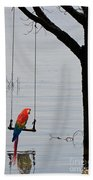 Parrot On A Swing Beach Towel