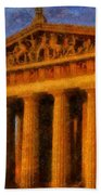 Parthenon On A Stormy Day Beach Towel by Dan Sproul