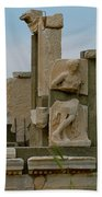 Partially Restored Fountain Of Trajan In Ephesus-turkey Beach Towel