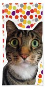 Party Animal - Smaller Cat With Confetti Beach Towel by Linda Woods