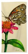 Passion Butterfly On Zinnia Beach Towel